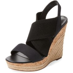 Charles by Charles David Women's Allison Wedge Sandal - Black - Size... ($55) ❤ liked on Polyvore featuring shoes, sandals, black, black leather sandals, platform wedge sandals, slingback wedge sandals, high wedge sandals and wedge sandals