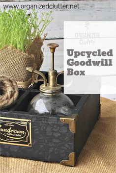 A flat, wooden, divided box with brass accents from the thrift shop is painted and stenciled with a monochromatic stencil.