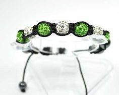 Bracelet shamballa-shambala-7 perles boules strass diamant-vert pomme-hématite