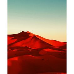 Red desert Morocco sand dunes blue sky sunshine shadows retro print... ($13) ❤ liked on Polyvore featuring home, home decor, wall art, backgrounds, paper wall art, metallic wall art, blue home decor, blue home accessories and red wall art
