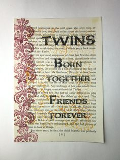 Twin sister quote print on a book page by ESPARTOstudio on Etsy, $8.25