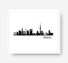 TOKYO Skyline, Tokyo Cityscape Printable, Tokyo Art, Tokyo Wall Decor, Black & White Printable by ArtlandStudio on Etsy