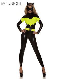 MOONIGHT 4 개 가짜 가죽 배트맨 의상 여성 할로윈 의상 배트맨 성인 크리스마스 카니발 옷 점프 슈트