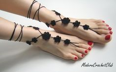 Big flower BLACK Barefoot Sandals, Goth Christmas gift. $19.00, via Etsy.