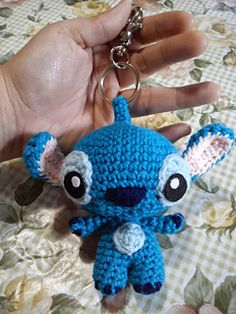 Keychain amigurumi of Stitch (Experiment 626). Used Serah Basnet's Super Ted pattern (http://talesoftwistedfibers.wordpress.com/2014/06/11/supe...) as base.
