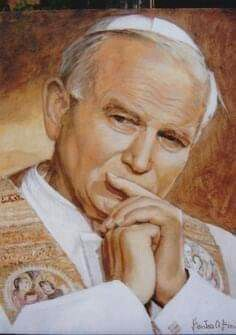 Portrait of John Paul II acrylic on canvas Stanislaw Witold Bienias Catholic Art, Catholic Saints, Roman Catholic, Religious Images, Religious Art, Pope Of Rome, Oracion A San Antonio, Anima Christi, Papa Juan Pablo Ii