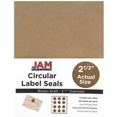 JAM Paper 2.5 inch Kraft Circle Label Sticker Seals, Brown,12 Labels per  Page