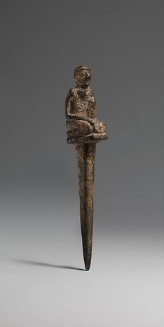 Copper peg with kneeling male, Sumerian  Early Dynastic ca. 2900–2350 B.C.E.