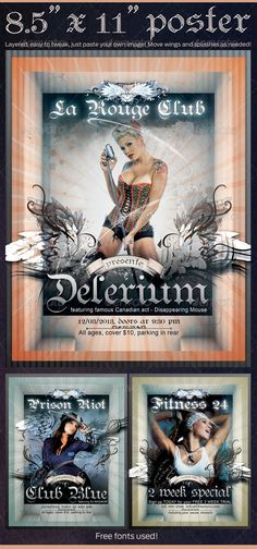"""Poster  """"Delerium"""" in 8.5""""x11""""  #GraphicRiver         Very easy to modify, just paste your image in layer called """"paste image here"""". To change 3D looking header text, expand layer folder """"Big Text"""" and double-click first layer from top """"header-text"""". Change bgrd color by changing hue (ctrl+U) to layer """"sunburst"""" on the bottom. Move everything around per will, enable and disable splash layers and overlay patterns. Fonts used: -Arial, -Teutonic No1 (free font:  .dafont /teutonic.font)…"""