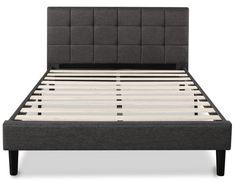Zinus Upholstered Square Stitched Platform Bed with Wooden Slats Grey Platform Bed, Platform Bed Mattress, Best Platform Beds, Mattress Frame, Platform Bed Frame, Upholstered Platform Bed, Wooden Bed Frames, Wooden Slats, Best Storage Beds