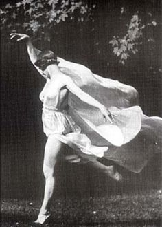 """Duncan's choreography, comprised of pleasing poses and images, continued the 19th-century affinity for pictorial beauty. Unlike many other dancers, however, Duncan excelled in conveying the emotional impulses of music. She also effectively expressed her spirituality through movement. In her essay """"The Dancer of the Future"""", Duncan outlined her beliefs that dance should embrace gravity, not defy it, and that all movement begins in the solar plexus."""