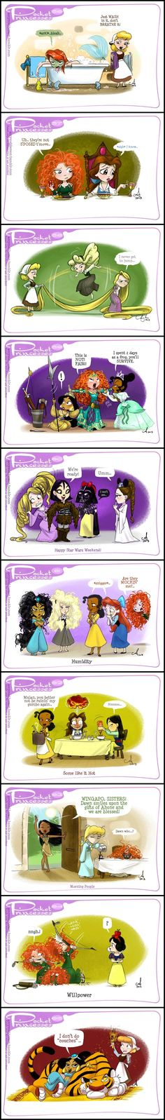 Pocket Princesses (Part by Amy Mebberson - I am in love with the Pocket Princesses! I always laugh at their antics and would love to read more! by susangir Disney Pixar, Walt Disney, Cute Disney, Disney Girls, Disney And Dreamworks, Disney Cartoons, Disney Magic, Funny Disney, Funny Cartoons