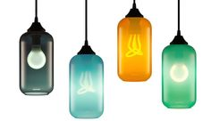 These daring new fixtures from Modoluce, Kundalini, Danese and other manufacturers come in luminous colours and artistic forms. Luminous Colours, Light Architecture, Light Decorations, Pendant Lighting, Water Bottle, Pendants, Lights, Led, Modern