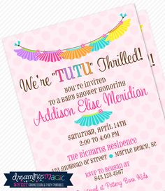 Printable Baby Shower Invitation-Tutu Thrilled Design