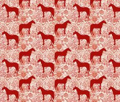 The Red Forest Horse fabric by ragan on Spoonflower - custom fabric