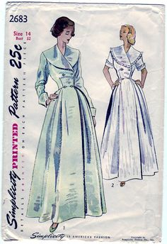 FREE SHIPPING Vintage 1948 Simplicity 2683 Sewing Pattern Misses' House Coat Size 14 Bust 32
