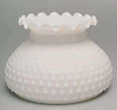 """Hobnail Milk Glass 7"""" Student Lamp Shade. Ideal for Student Desk, Table, Tension Pole or Floor Lamp, Wall Sconce or Chandelier Light Fixture."""
