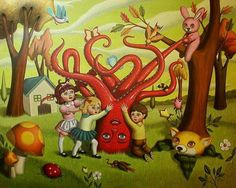 Ana Bagayan Ana Bagayan was born in the capital of Armenia; Yerevan, and moved to the United States when she was six years old. In Burbank. Surrealism Painting, Pop Surrealism, Octopus Art, Octopus Tentacles, Mark Ryden, Lowbrow Art, Cute Creatures, Weird World, Contemporary Artists
