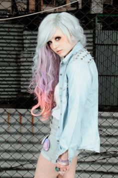 Stunning pastel ombre hair. Turquoise, lilac and pink hair dye effect.