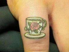 pictures of teacup tattooes | Teacup Tattoo On The Pinky | Ruth Tattoo Ideas