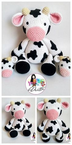 Amigurumi toy animal knitting models are both the most popular and one of the most knitted knitting models. Crochet Cow, Crochet Amigurumi Free Patterns, Crochet Animal Patterns, Stuffed Animal Patterns, Crochet Gifts, Cute Crochet, Crochet Animals, Crochet Dolls, Häkelanleitung Baby