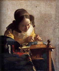 Johannes Vermeer (Dutch [Baroque, Dutch Golden Age] The Lacemaker, circa Louvre. Johannes Vermeer, Rembrandt, Städel Museum, Vermeer Paintings, Oil Paintings, Louvre Paris, Painting Prints, Art Prints, Art History