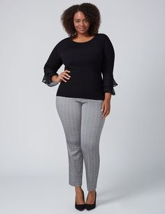 9393e2705e8db Allie Crosshatch Ankle Pant Plus Size Fall Outfit