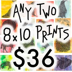 Print Set SALE  Any 2 8x10 Prints  Illustration by AtomicWhale, $36.00