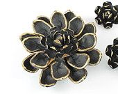Vintage Vendome Flower Brooch Earrings set Black enamel 1960s jewelry flower power, large flower brooch