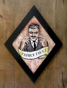 Gomez Addams (Family First) diamond framed print. by bwanadevilart on Etsy https://www.etsy.com/listing/251046944/gomez-addams-family-first-diamond-framed