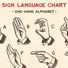 Vintage Sign Language Illustration  Printables
