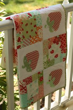 the Strawberry Patch quilt pattern PDF by EmilyAnnsKloset on Etsy Cute Quilts, Mini Quilts, Baby Quilts, Jellyroll Quilts, Patch Quilt, Quilt Blocks, Strawberry Patch, Strawberry Fields, Strawberry Shortcake