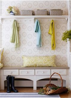 Under The Table and Dreaming: Entryway & Mudroom Inspiration & Ideas {Coat Closets, DIY Built Ins, Benches, Shelves and Storage Solutions} great use of storage in small entryway! Laundry Mud Room, Decor, Baseboard Heating, Home Organization, Small Entryway, Entryway Inspiration, Home Decor, Built In Bench, Mudroom