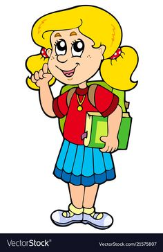 Advising school girl vector image on VectorStock School Border, Kids Background, School Clipart, Clip Art, Gifs, Coloring Books, Vector Free, Disney Characters, Fictional Characters