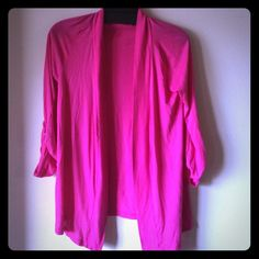 Splendid open cardigan: sz S Like new. Worn once. 3/4 sleeve with roll-up detail.  Excellent condition. Bright pink, lightweight cotton jersey material, very soft, perfect for spring! Splendid Sweaters Cardigans