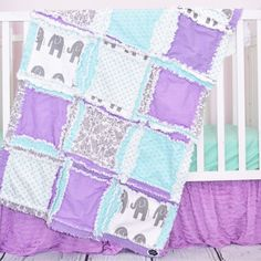 Custom elephant crib set in gray, mint, and purple for an elephant nursery bedding. A modern elephant baby comforter for your unique elephant nursery Sizes and Pricing Available in Drop Down Menu The