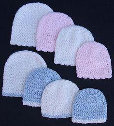 Ideas Knitting Baby Patterns Easy Newborn Hats For 2019 Crochet Preemie Hats, Crochet Baby Hats Free Pattern, Crochet Baby Blanket Beginner, Bonnet Crochet, Crochet Baby Beanie, Crochet Headband Pattern, Newborn Crochet, Crochet Patterns, Hat Crochet