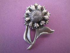 Vintage Pewter Sunflower Brooch Pin Jewellery Jewelry hallmarked Metzke