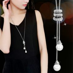 2016 New Women All-match Tassel Sweater Chain Female Long Necklace Pendant Simple Clothes Accessories Long Chain Necklace, Pearl Pendant Necklace, Necklace Types, Necklace Set, Pendant Jewelry, Necklace Price, Jewelry Necklaces, Tassel Necklace, Chain Jewelry