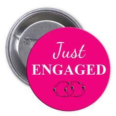 Just Engaged Pink Pinback Button