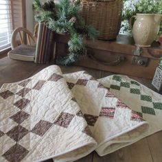Amazing Fabrics! Antique c1830-1860 Early TABLE QUILT RUNNER 46x23