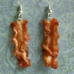 I think this is my best attempt at bacon earrings yet! New Bacon Earrings Funky Earrings, Rose Earrings, Unique Earrings, Diy Earrings, Statement Earrings, Weird Jewelry, Funky Jewelry, Cute Jewelry, Accesorios Casual