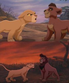 Kiara and Kovu. Proof that you don't mess with the girl when she's angry. by JulianaaXOXO