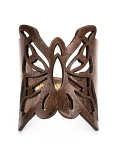 Accessorize with this beaver color leather butterfly cut out cuff #butterfly…