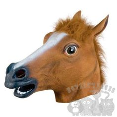 Latex Animal Full Head Popular Brown Horse Fancy Dress Stag Hen Props Party Mask