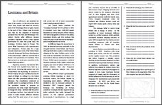 Louisiana and Britain - Free Printable American History Reading with Questions for Grades 9-12