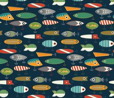 Hooked Up Navy fabric by katerhees on Spoonflower - custom fabric