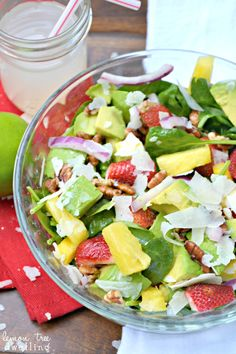 Tropical Spinach Salad with Sweet Lime Vinaigrette via lemontreedwelling.com
