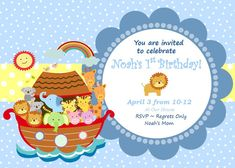 Noah's Ark Invitation Noah's Ark Birthday by SweetEPaperBoutique