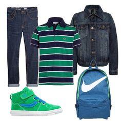 Look+per+le+giornate+primaverili+adatto+a+diverse+occasioni+composto+da+giacca+jeans,+polo+a+righe+e+jeans+skinny+fit.+Completano+l'outfit+sneakers+alte+e+zaino.